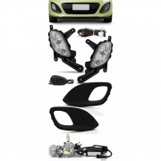 Kit Farol de Milha Neblina Kia Picanto 2012 2013 2014 - Botão Alternativo + Kit Lâmpada Super LED 6000K