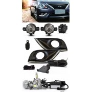 Kit Farol de Milha Neblina Nissan Versa 2015 2016 2017 2018 2019 2020 Com LED DRL + Kit Lâmpada Super LED 6000K