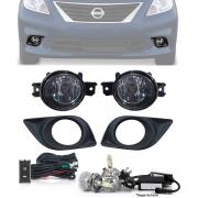 Kit Farol de Milha Neblina Nissan Versa 2012 2013 2014 - Botão Similar ao Original com Lâmpada LED