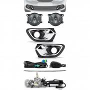 Kit Farol de Milha Neblina Renault Logan 2015 2016 2017 2018 2019 Filete Grade Central + Kit Lâmpada Super LED 6000K