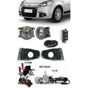 Kit Farol de Milha Neblina Renault Sandero 2012 2013 2014 + Kit Xenon 6000K 8000K ou Kit Lâmpada Super LED 6000K