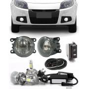 Kit Farol de Milha Neblina Renault Sandero 2012 2013 2014 - Sem Moldura e Botão Painel + Kit Lâmpada Super LED 6000K