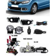 Kit Farol de Milha Neblina Renault Sandero 2015 2016 2017 Interruptor Alternativo + Kit Xenon 6000K 8000K ou Kit Lâmpada Super LED 6000K