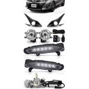 Kit Farol de Milha Neblina Toyota Yaris Hatch e Sedan Com LED DRL + Kit Lâmpada Super LED 6000K