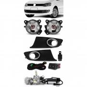 Kit Farol de Milha Neblina Vw Fox e Spacefox 2010 2011 2012 2013 2014 - Botão Painel Quadrado + Kit Lâmpada Super LED 6000K