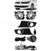 Kit Farol de Milha Neblina Vw Fox e Spacefox 2010 2011 2012 2013 2014 - Botão Painel Redondo + Kit Lâmpada Super LED 6000K