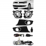 Kit Farol de Milha Neblina Vw Fox e Spacefox 2010 2011 2012 2013 - Botão Alternativo + Kit Lâmpada Super LED 6000K