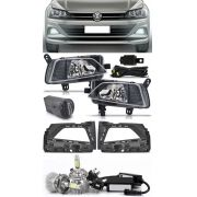 Kit Farol de Milha Neblina Vw Virtus e Novo Polo 2018 2019 + Kit Lâmpada Super LED 6000K