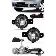 Kit Farol de Milha Renault Clio 2003 à 2012 Botão Alternativo + Kit Lâmpada Super LED 6000K