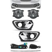 Kit Farol de Milha Neblina Renault Logan 2015 2016 2017 2018 2019 Moldura Aro Cromo + Filete Grade Central