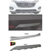 Kit Protetor Traseiro + Dianteiro de Para-Choque TG Poli Honda HRV 2019 2020 2021 - Prata Aluminium