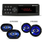 "Kit Som Automotivo Hurricane Rádio HR 412BT Bluetooth Com Alto Falante 6"" + 6x9"""