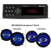 Kit Som Automotivo Hurricane Rádio HR 412BT Bluetooth Com Alto Falante