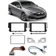 Moldura De Painel 2 Din Honda Civic G10 2017 2018 2019 2020 + Chicote Ligação + Adaptador Antena
