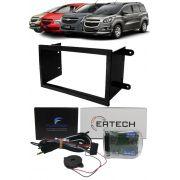 Moldura De Painel 2 Din + Interface Comando de Volante Chevrolet Onix Cobalt Spin Prisma 2013 2014 2015 2016 2017 2018