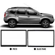 Moldura De Painel 2 Din Renault Duster Expression Authentique PCD 2016 2017 2018 2019 2020 - Para CD DVD 2 Dins
