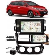 Moldura Painel 2 Din Toyora Yaris 2018 2019 2020 + DVD Player E-Tech + Câmera de Ré