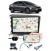 """Multimídia 9"""" Polegadas Honda Civic 2012 à 2016 Espelhamento USB Bluetooth + Moldura Painel + Interface Volante + Chicotes + Câmera de Ré"""