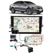 """Multimídia 9"""" Polegadas Vw Virtus Espelhamento USB Bluetooth + Chicotes + Interface Volante + Moldura Painel + Câmera de Ré"""