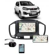 Multimídia Fiat Uno 2015 2016 2017 2018 2019 2020 2021 2022 Espelhamento Bluetooth USB SD Card + Moldura + Câmera Borboleta