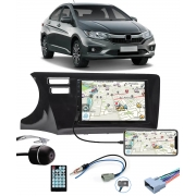 Multimídia Honda City 2015 2016 2017 2018 2019 2020 2021 Espelhamento Bluetooth USB SD Card + Moldura + Câmera Borboleta + Chicote + Adaptador de Antena