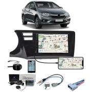 Multimídia Honda City 2015 2016 2017 2018 2019 2020 2021 Espelhamento Bluetooth USB SD Card + Moldura + Câmera Borboleta + Chicote + Adaptador de Antena + Interface de Volante