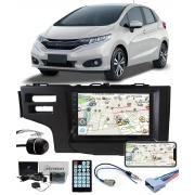 Multimídia Honda Fit 2015 2016 2017 2018 2019 2020 2021 Espelhamento Bluetooth USB SD Card + Moldura + Câmera Borboleta + Chicote + Adaptador de Antena + Interface Can