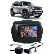 Multimídia Jeep Renegade DVD Pioneer AVH-G228BT + Moldura de Painel 2 Din + Câmera Ré + Chicotes 2015 2016 2017 2018 2019