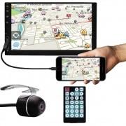 """Multimídia MP5 2 Din 7"""" Polegadas Espelhamento Bluetooth USB SD Card + Câmera de Ré"""