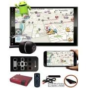 """Multimídia MP5 2 Din Android E-Tech 7"""" Polegadas Espelhamento Bluetooth GPS USB SD Card + Câmera Ré + Receptor Sintonizador TV Digital"""