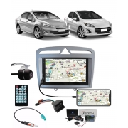 Multimídia Peugeot 308/408 Espelhamento Bluetooth USB SD Card + Moldura + Câmera Borboleta + Chicotes + Adaptador de Antena + Interface Volante