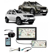 Multimídia Renault Duster e Oroch Expression Espelhamento Bluetooth USB SD Card + Moldura + Câmera Borboleta + Chicote + Adaptador de Antena