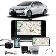 Multimídia Toyota Corolla 2017 2018 2019 Espelhamento Bluetooth USB SD Card + Moldura + Câmera Borboleta + Adaptador de Antena + Chicotes + Interface Volante