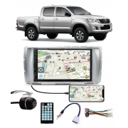 Multimídia Toyota Hilux SRV Cabine Dupla 2012 2013 2014 2015 Espelhamento Bluetooth USB SD Card + Moldura + Câmera Borboleta + Adaptador de Antena + Chicotes