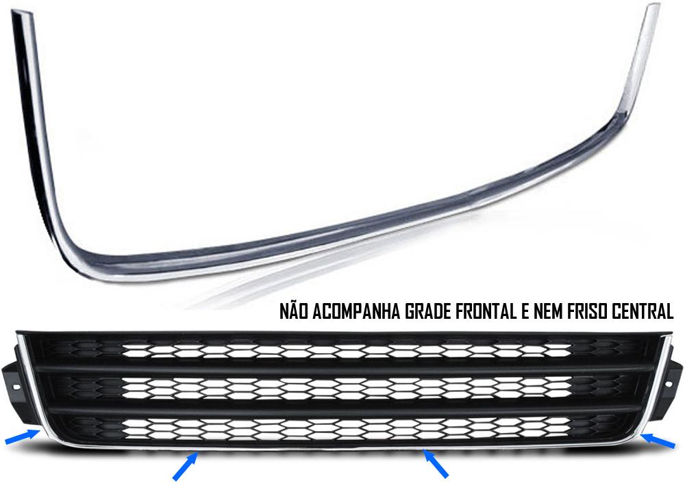 Kit Farol de Milha Neblina Vw Gol Voyage Saveiro G5 2009 / 2010 / 2011 / 2012 / 2013 - Interruptor Modelo Original + Moldura Cromada +  Friso da Grade