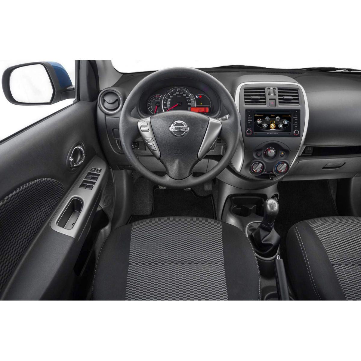 Central Multimidia Nissan March 2014 á 2016   e  Versa 2015 2016 2017  Com DVD GPS Mapa Bluetooth MP3 USB Ipod SD Card Câmera Ré Grátis - Preta - Winca
