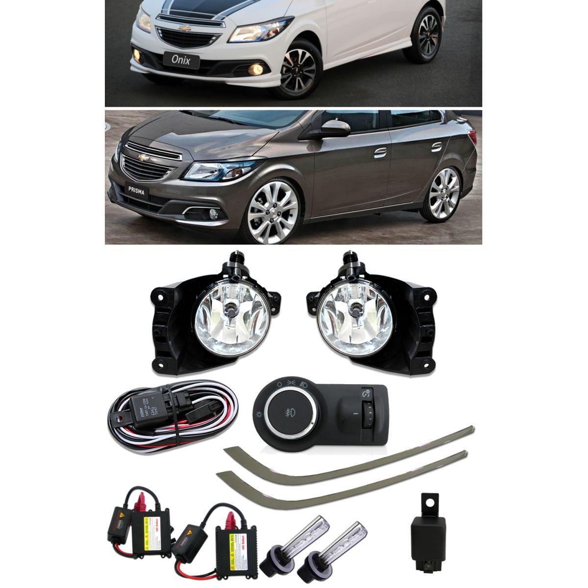 Kit Farol de Milha Neblina Chevrolet Novo Onix / Prisma LT 2013 á 2015+ Friso Cromado Pára-choque - Par ( 2 peças ) + Kit Xenon H27 Com Reator Digital -  6000K ou 8000K