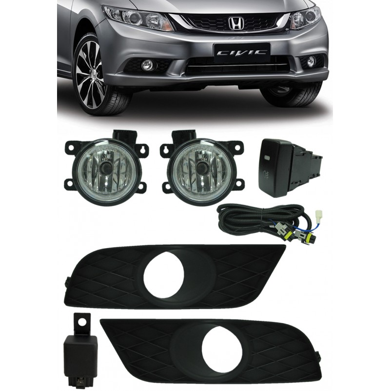 Kit Farol de Milha Neblina Honda New Civic 2015 - Interruptor Modelo Original