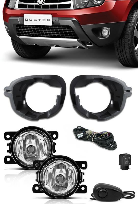 Kit Farol de Milha Neblina Renault Duster 2013 2014 2015 2016 2017 2018 2019 + Base Para Fixação - Interruptor Alternativo