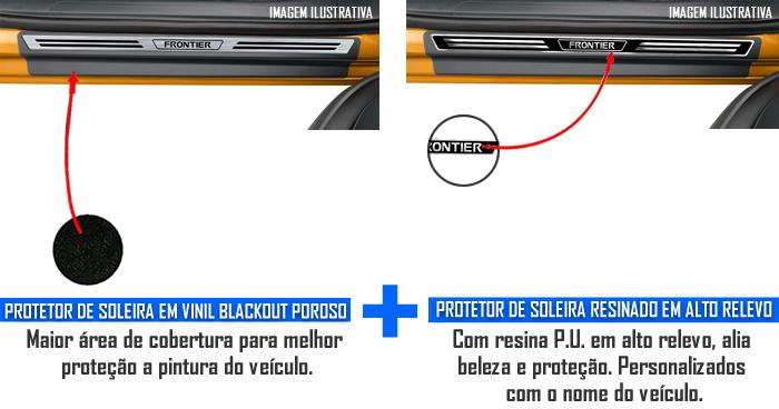 Jogo Soleira Premium Elegance Nissan Frontier 2017 2018 2019 2020 2021 2022 - 4 Portas ( Vinil + Resinada 8 Peças )