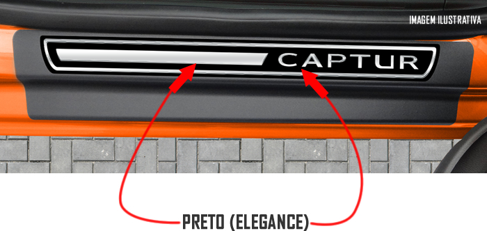 Jogo Soleira Premium Elegance Renault Captur 2017 2018 2019 2020 2021 2022 - 4 Portas ( Vinil + Resinada 8 Peças )