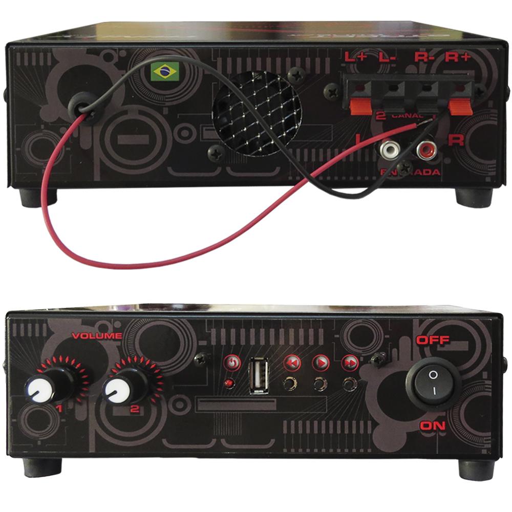 Amplificador de Mesa Trinity Street Kombat 100W RMS 2 Canais - Ideal Para Som de Igrejas Lojas Casa