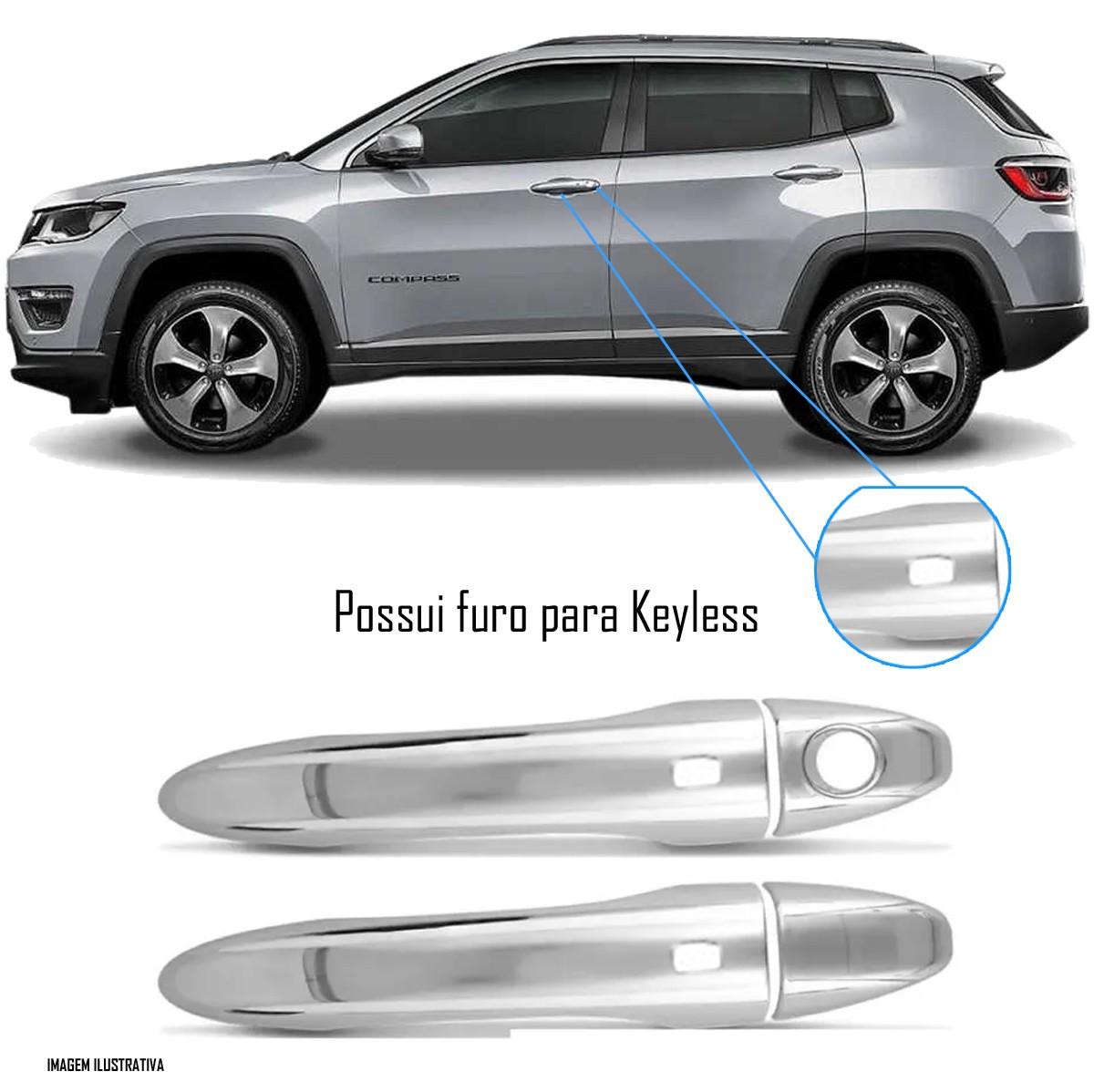 Aplique Maçaneta Cromado Com Furo Keyless Jeep Compass 4 Peças