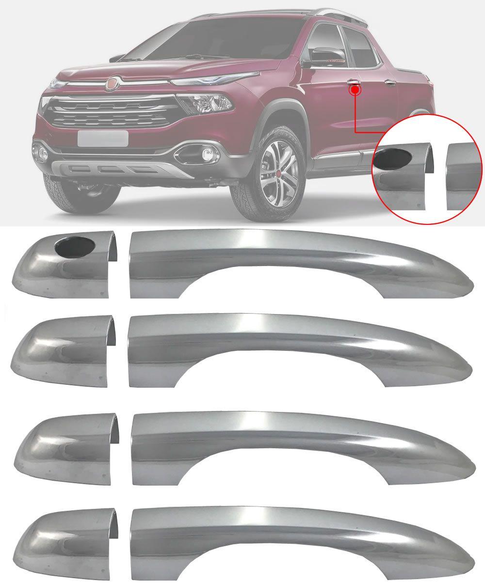Aplique Maçaneta Cromado Sem Furo Fiat Toro 4 Peças