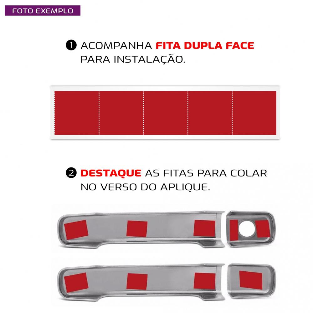 Aplique Maçaneta Cromado Sem Furo Ford Ranger 2013 2014 2015 2016 2017 2018 2019 2020 2021 4 Peças