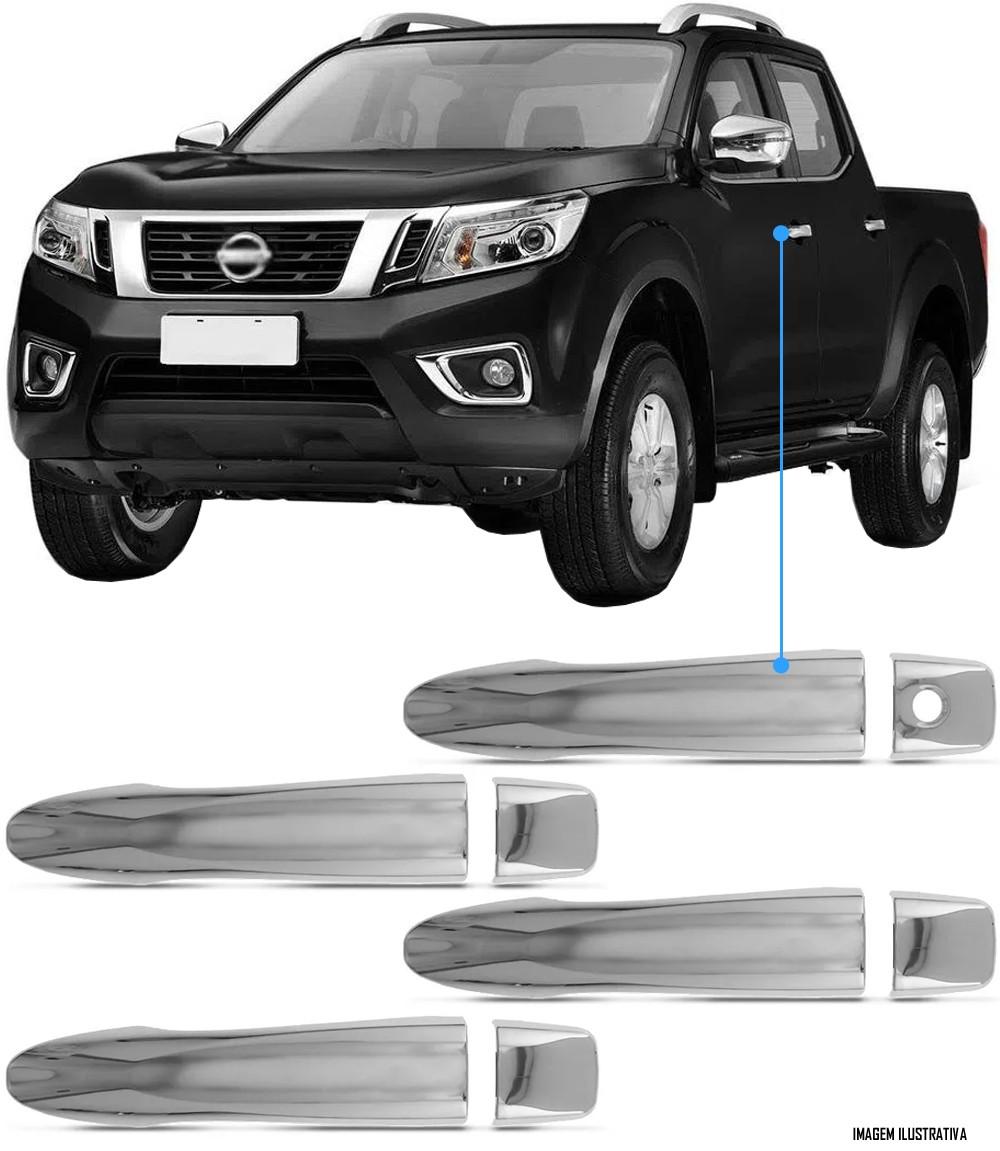 Aplique Maçaneta Cromado Sem Furo Nissan Frontier 2017 2018 2019 2020 2021 4 Peças
