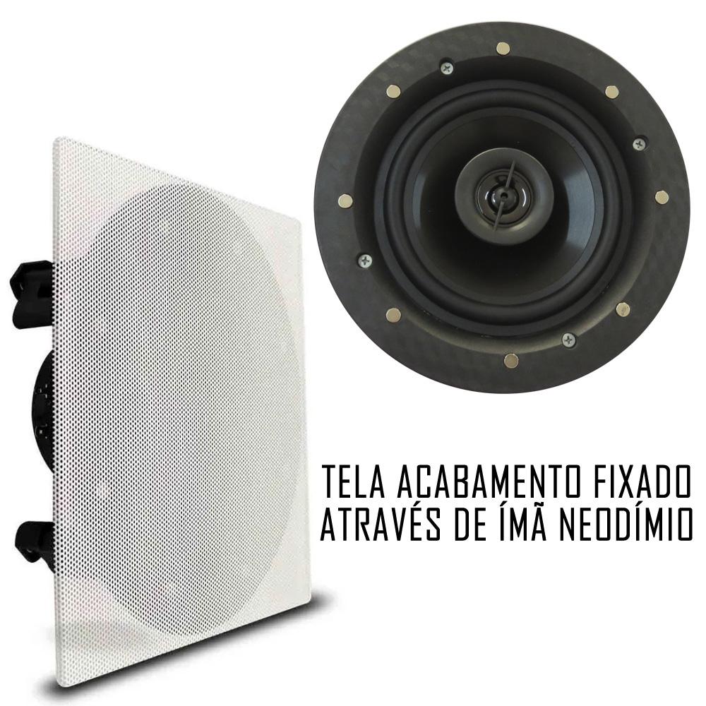 """Arandela Quadrada Teto Com Alto Falante Kazaudio Coaxial CK6Q 6,5"""" 80W RMS By Hurricane"""
