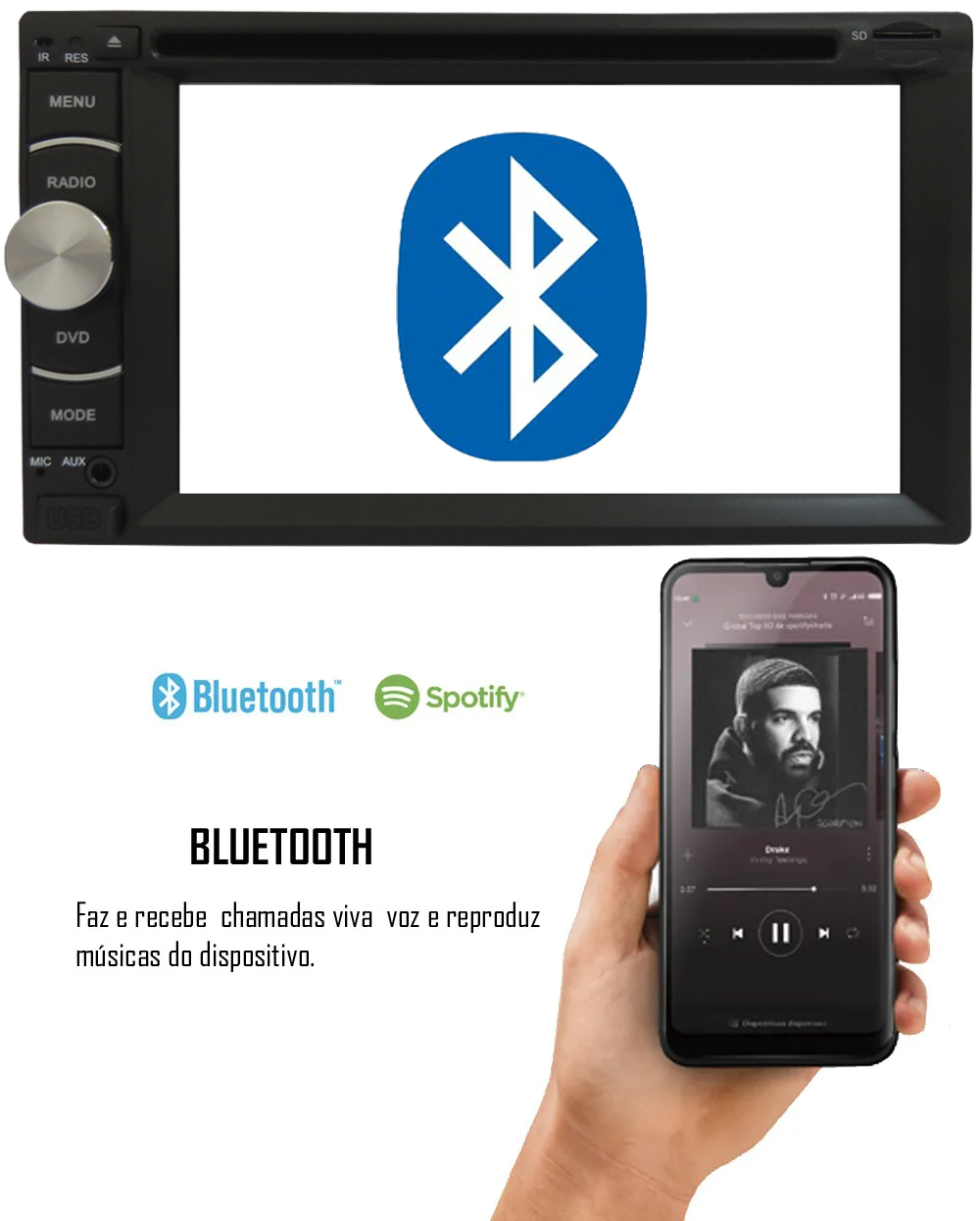"""DVD Player Automotivo 2 Din E-Tech Universal Tela 6.2"""" Espelhamento Bluetooth USB Cartão Memória"""