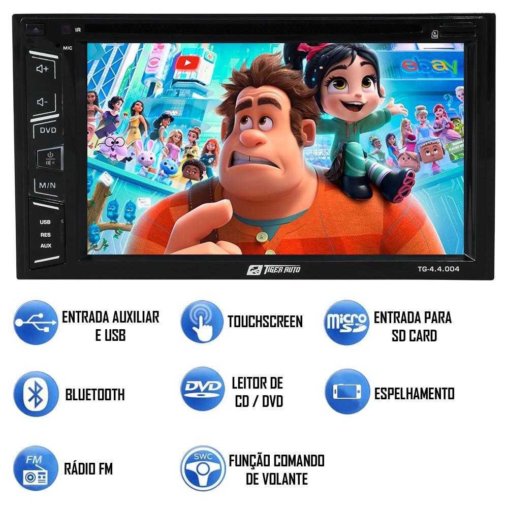 """DVD Player Automotivo 2 Din Tiger Auto Universal Tela 6.2"""" Espelhamento Bluetooth USB Cartão Memória"""