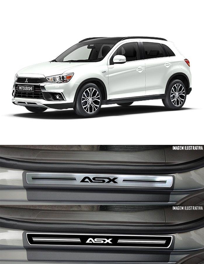 Jogo Soleira Premium Elegance Mitsubishi Asx 2011 2012 2013 2014 2015 2016 2017 2018 2019 2020 2021 2022- 4 Portas ( Vinil + Resinada 8 Peças )